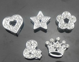 100pcs lot 8mm mix styles (heart star crown & flower) full rhinestones slide charms fit for 8MM DIY leather keychains