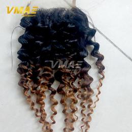 Acheter en ligne 27 bouclés ombre-Couleur 1b 4 27 Dentelle frontale brésilienne Cheveux Ombre Fermeture bouclée courbante Ombre 3 Tone Deep Culry Cheveux humains Fermeture en dentelle gratuite
