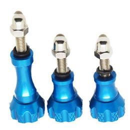 Jeu de bouton à vis à vendre-2016 Hot Mini Aluminium Thumb Kit Bouton Acier Inox Set Vis Pour Gopro Hero 4/3 + / 3/2/2 Bleu