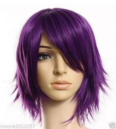 Fashion New Purple Straight Short Wigs Women Natural Wig Wigs