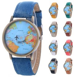 Wholesale New women leather world map watch fashion plane printing ladies cowboy dress quartz wrist watches for women ladies