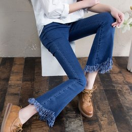 Nine Korean women flared jeans waist spring flared wide leg irregular thin trousers fringed edges