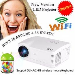 Quad lcd en Ligne-Grossiste-Uhappy H2 5500Lumens projecteur hd Quad Core Android 4.4 Wi-Fi Smart 1080P 3D LCD Home Cinéma TV Projecteur LED Vidéo Beamer