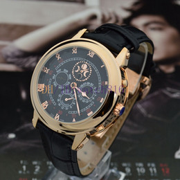 Wholesale Luxury luxury men high quality mechanical automatic style fashion gold case black surface moon and stars watch double sided work