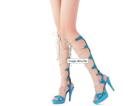 Free shipping Sexy High-heeled Cross Straps Platform Sandals Women Gladiator Style Cool Boots
