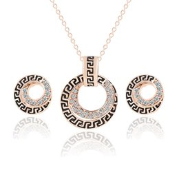 Retro Style Rhonestone Alloy Earrings & Necklace Set Circle Shape Pendant Necklac Earrings Jewelry Sets Women's Wedding Dinner Party Gifts