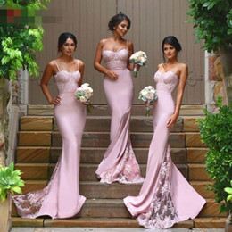 Under 90$ Spaghetti Straps Lace Satin Bridesmaid Dresses Skirt Train Appliques Blush Pink Mermaid Formal Party Prom Gown Dresses Cheap