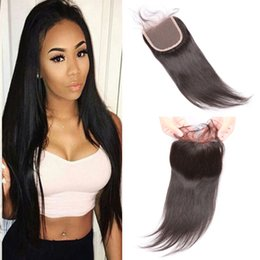 8A Brazilian Hair extensions Human Hair Unprocessed Top Lace Closure 4*4 Hand Tied Virgin Human Hair Closures Natural Black