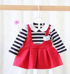 Wholesale Spring autumn new baby girls princess dress children doll collar stripe dress toddler kids cute fox stripe fake suspender dress A0093