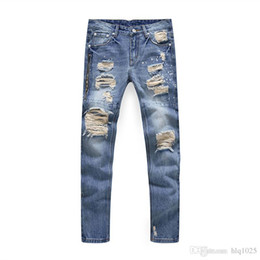 Roches de mode à vendre-Hot Men Distressed Ripped Jeans Fashion Designer Straight Motorcycle Biker Causal Denim Pants Streetwear Style Runway Rock Star Jeans