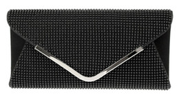 Wholesale DC1989 Women Evening Bag Black Bead Mesh Magnetic Button Closure Long Chain Shiny Rhodium Plated V Metal Clip Inner Side Pocket