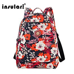 Insular Nylon Floral Printing Women Backpack Fashion Waterproof Women Knapsack School Bag