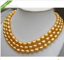NEW 48'' CULTURED 9-10mm SOUTH SEA GOLDEN PEARL NECKLACE 14K