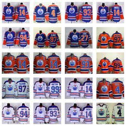 2016 Edmonton Oilers 97 Connor McDavid 99 Wayne Gretzky Patrick Maroon Jersey Men Orange Blue Leon Draisaitl Ice Hockey Jerseys All Stitched