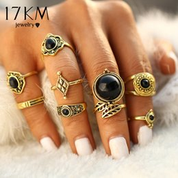Antique Gold Color 9 pcs   sets Fashion Vintage Punk Midi Rings Set Charms Jewelry Ring For Women Boho Style Female