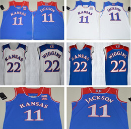 Wholesale 2017 Hot Josh Jackson Jersey Blue White Mens Andrew Wiggins College Basketball Jerseys Stitched