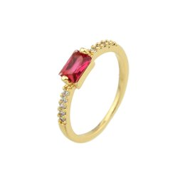 Summer Fashion Ring Design Graceful Delicate Trendy Vivid Created Crystal Gold Plated With Red Rhinestone Wedding Ring