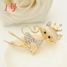 Wholesale Fashion Hot Opal Suit Brooch For Cat Shawl Buckle Rhinestone Lapel Pin Brooches for Women Wedding hijab pins D25300 ABC