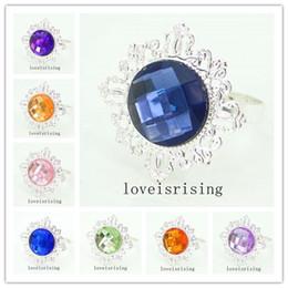 22 Colors pick--50pcs lot Acrylic Gem Silver Metal Rings Napkin Rings Wedding Banquet Dinner Decor Napkin Holder