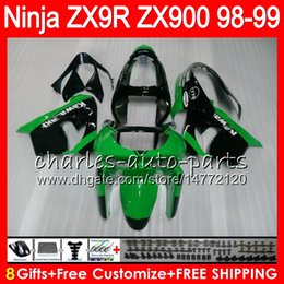 8Gifts 23Colors For KAWASAKI NINJA ZX 9 R ZX9R 98 99 00 01 900CC 48HM4 Green black ZX 9R ZX900 ZX900C ZX-9R 1998 1999 2000 2001 Fairing kit