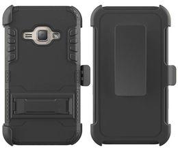 Clips de bolsas en venta-Para la galaxia On5 G550 de Samsung para MetroPCS PC de la PC TPU Silicona híbrido de la caja de la armadura del defensor Kickstand Combo Holster Clip de la correa Bolsa al por menor de OPP