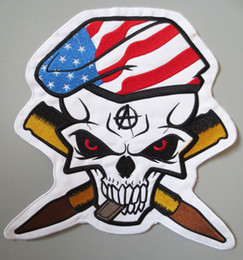 MC Embroidered Iron Patch American Flag Skull Hand Full Back Size Can Be Use Jacket Back
