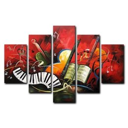 Wholesale 5 Panel Hand Painted Oil Paintings Landscape Musical Instruments Piano Modern Abstract Artwork Canvas Ready Hang Home Decoration