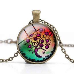 Purple Tree of Life Pendant Necklaces Glass Cabochon Purple Time Gemstone Jewelry Women Charm Clothes Accessory Girl Gifts Alloy Wholesale