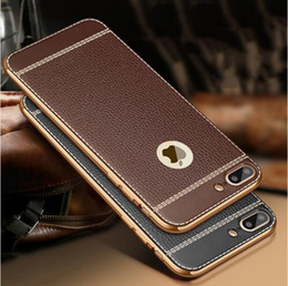 Litchi grain luxury Plating Soft Leather TPU silicone phone case For iphone 5SE 6s plus Frame clear cover For iphone 7 Samsung S6 S7 Edge