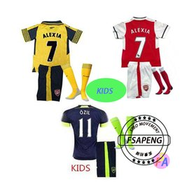 Wholesale 2016 kids Arsenals soccer Jerseys Away Yellow OZIL Football kit socks WILSHERE RAMSEY ALEXIS GIROUD Welbeck Full Shirts