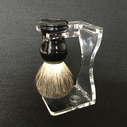 Pure Badger Wet Hair Shaving Brush Black With Classic Brush Holder