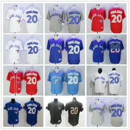 #20 Josh Donaldson Black White Gray Blue Army Green Red Toronto Blue Jays CoolBase Baseball Jerseys Best Quality Wholesale