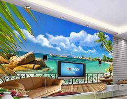2017 fondos de verano Verano playa balcón paisaje TV fondo pared decoración 3d murales papel pintado para sala de estar fondos de verano en oferta