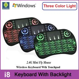 Wholesale Rii I8 Wireless Backlight Mini Keyboard Air Mouse Multi Media Remote With Touchpad Handheld For S905X S912 TV Box TX3 Pro X96 T95