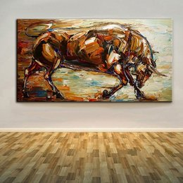 Strong Bull,Pure Hand Painted Modern Wall Decor Abstract Animal Art Oil Painting On High Quality Canvas.Multi sizes Ab020