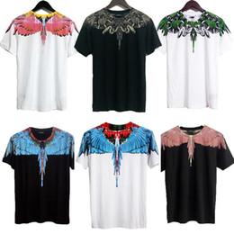 Marcelo Burlon Men T-Shirt High Quality Wing Feather Short Sleeve Men's Brand Cloth Country Of Millan Asian Size Marcelo Burlon T-Shirts