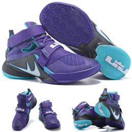 (Avec chaussures Box) NOUVEAU James LeBron Zoom Soldat 9 749417-510 Violet Noir Bleu Hommes chaussures taille 7-12 à partir de soldats lebron noir fabricateur