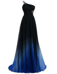 Bleu peplum robe noire à vendre-2017 Ombre Gradiant Robes de soirée de couleur Une épaule Empire Mousseline de soie Noir Royal Blue Designer Longue Cheap Prom Formal Dressage Pageant