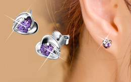 Korean 925 sterling silver earrings Korean female lovely ear jewelry genuine original heart-shaped earrings