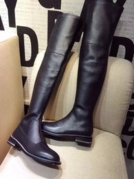 Wholesale Suede Boots Knee High Sale - 2016 Cow Leather Soft Quality Womens Black Fashion Long Boots GY Brand Over the Knee Boots For Sale