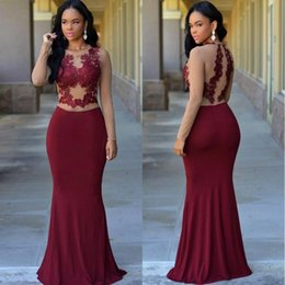 Sexy Burgundy Mermaid Prom Dresses 2017 Crew Neck Nude Top Long Sleeve Lace Appliqued Evening Dresses Cheap Custom Made BA4324