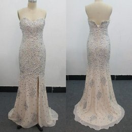 Sexy Sweetheart Mermaid Beaded Dresses Real Image Champagne Chiffon Crystals Evening Dress Prom Party Gowns Split Sweep Train Zipper Back