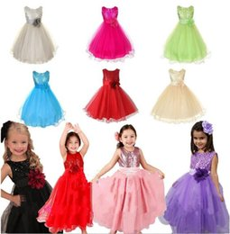 Promotion robes en tulle sans manches New Kids Baby Princesse Pageant Gown Flower Girls Sequin Tulle Party Wedding Communion Formal Dress 8 Couleurs