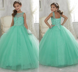 2016 Sparkly Mint Green Beaded Crystal Girls Pageant Dresses for Teens Princess Tulle Floor Length Kids Prom Party Gowns