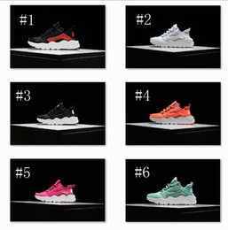Wholesale 2016 Black Red Air Huaraches Kids Running Shoes For Boys Girls White Blue Sneakers Huarache Children s Trainers Sport Shoes Size