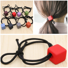 2017 New Hair Jewelry Sweet Candy Square Elastic Hair Rubber Bands Eight Colors For Women & Children Hair Jewelry Rope
