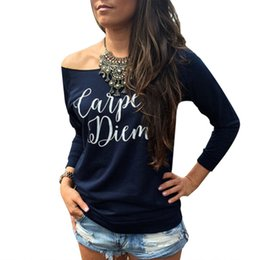 Promotion imprimé floral t-shirts femmes Grossiste-Sexy T-shirt épaule 2016 Femmes Slash Neck long manches Casual Stretch Tops Tee Blusas Lettre Imprimer Loose Bottoming Shirt u2