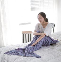 Adult fish scales blankets by hand crocheted super soft sofa air conditioning blanket mermaid tail sleeping bag