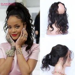 18 black hair à vendre-Expédié de US !!! Fermeture frontale pour cheveux noirs de Virgin Hair 360 Fermeture frontale en dentelle de 10-18inch 360 pour femmes noires