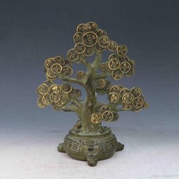 Antique Collection Folk Art Chinese Bronze Gilt Hand-carved Money tree statues